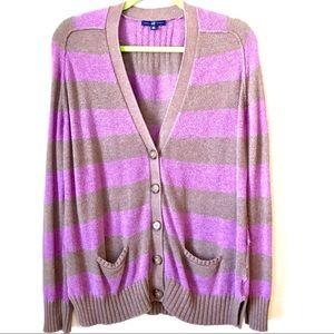 Gap Purple Brown Striped Cardigan Sweater - Sz Sm